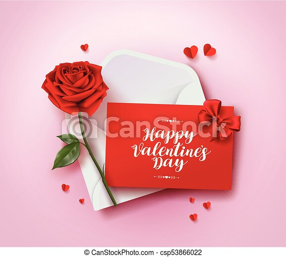 Happy valentines day greeting card vector design with love letter in happy valentines day greeting card vector design with love letter in envelope rose and paper cut hearts in pink background for valentines day season m4hsunfo