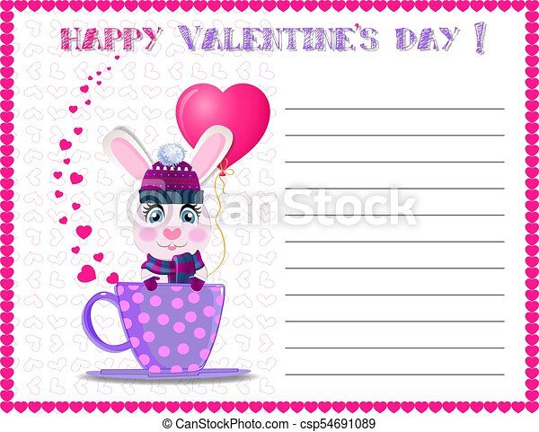 Happy Valentine S Day Greeting Card With Cute Rabbit In Hat Happy