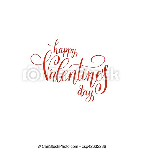 Happy Valentines Day Handwritten Red Lettering Holiday Logo