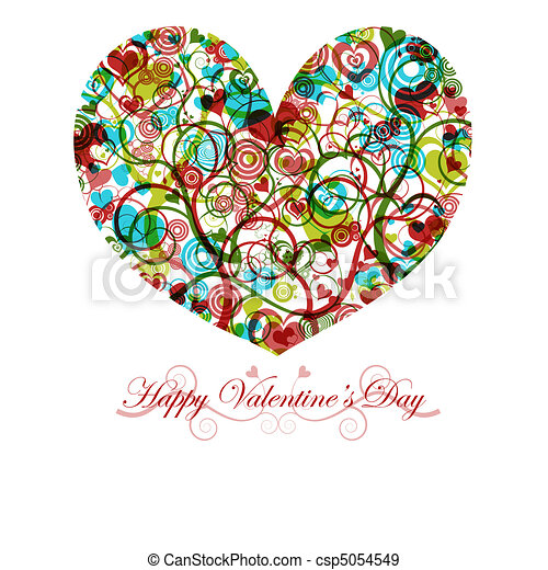 Happy Valentines Day Heart With Colorful Swirls Circles And Hearts