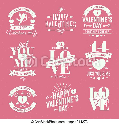 Happy ValentineS Day Label Set On Pink Background Vector