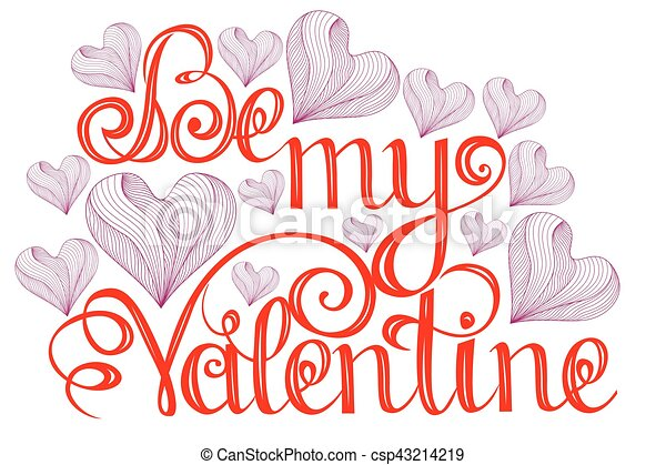 Happy Valentines Day Lettering Design Elements For Cards Doodles