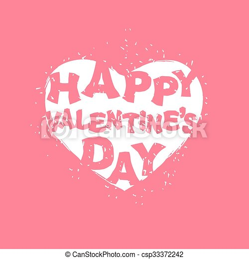Happy Valentines Day Logo White Heart On Pink Background