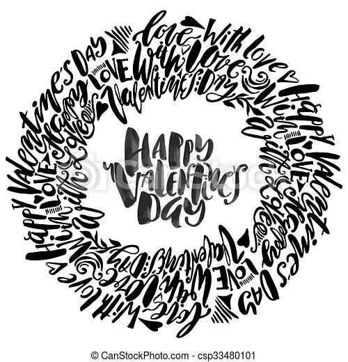 Happy Valentines Day Love Concept Hand Lettering Motivation Poster
