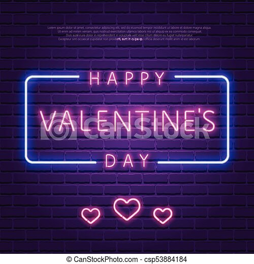 Happy valentines day neon glowing text 80s retro banner template happy valentines day neon glowing text 80s retro banner template night club electric light signboard dark brick wall background vector illustration stopboris Choice Image