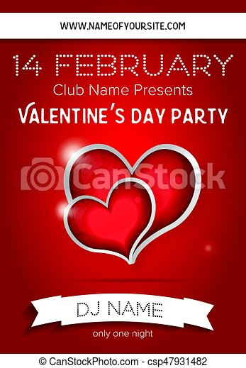 Happy Valentines Day Party Flyer Design Template Vector Illustration Club Concept With Two Red Hearts And Copy Space