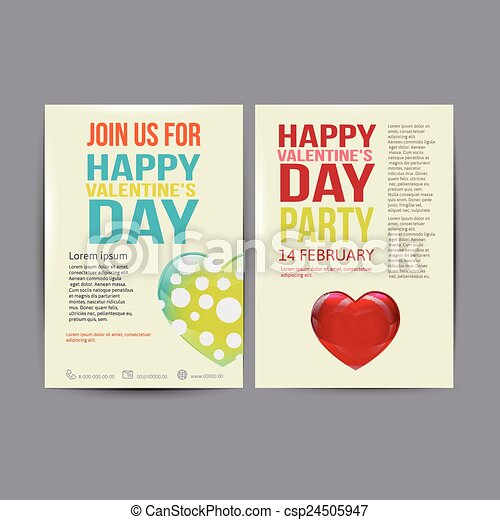 Happy Valentines Day Party Poster Design Template Typography Flyer