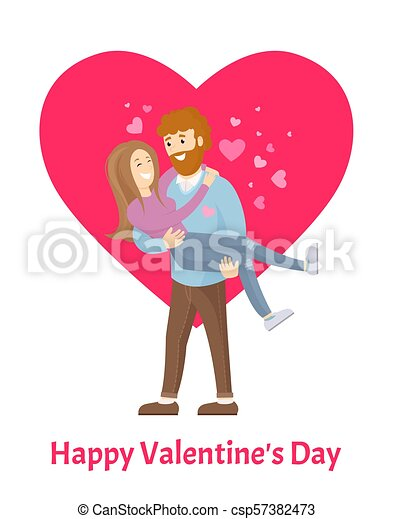 Happy Valentines Day Poster Man With Beard Woman Happy Valentines