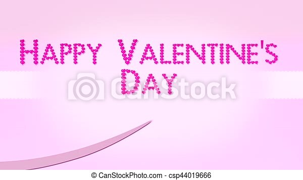 Happy valentines day with pink hearts text and ribbon stock ...