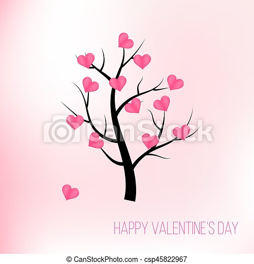 Happy Valentines Day Tree With Pink Hearts Vector Illustration