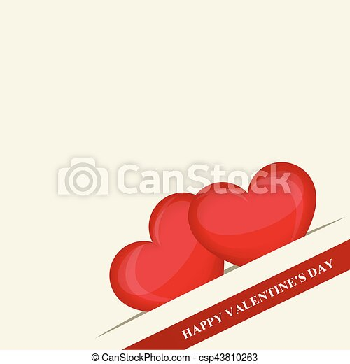 Happy Valentine's day. Two red hearts in pocket in the corner. Red ribbon. Creative design. Vector illustration - csp43810263