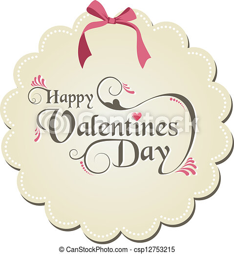 Happy Valentines Day Happy Valentine Day Ribbon And  Vector Clip