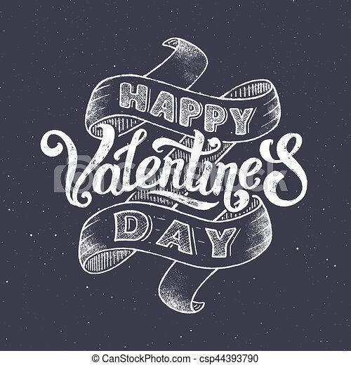 Happy Valentines Day Vintage Greeting Card With Hand Lettering