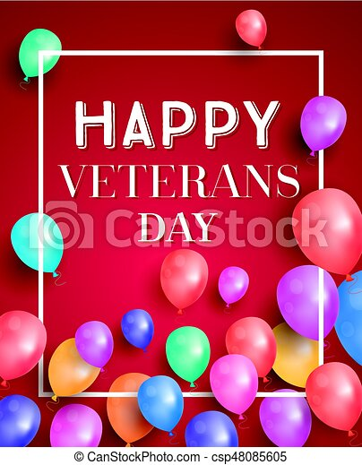 Happy veterans day greeting card with flying balloons vector happy veterans day greeting card with flying balloons vector illustration m4hsunfo