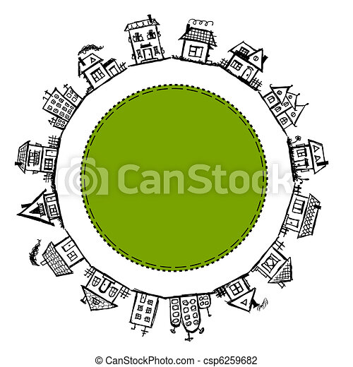 Happy village, frame with houses for your design - csp6259682