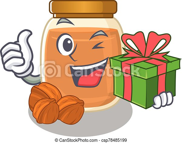 Happy walnut butter character having a gift box - csp78485199