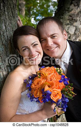 Happy wedding couple - csp1048828