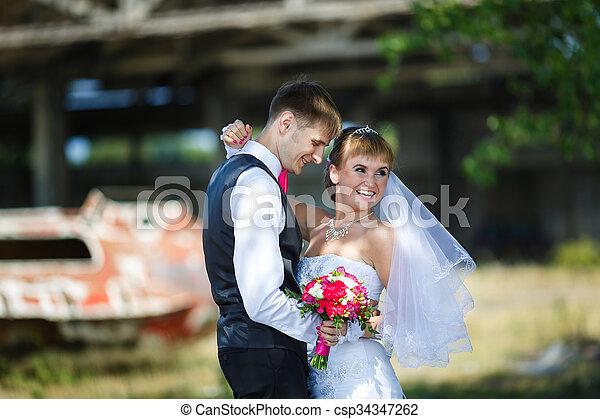Happy wedding couple - csp34347262