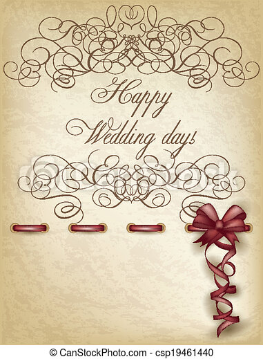 Happy Wedding Day Old Paper Vector Illustration
