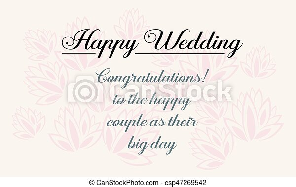 Happy wedding greeting card design style vector illustration happy wedding greeting card design style csp47269542 m4hsunfo