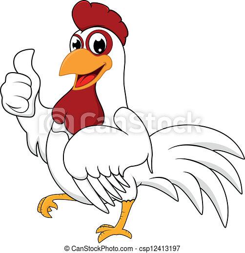 Happy White Chicken With OK - csp12413197