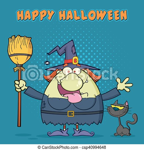 Happy Witch Cartoon Mascot Character Holding A Broom With Black Cat - csp40994648