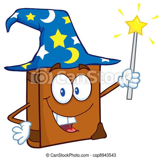 Happy Wizard Book Cartoon Character - csp8943543