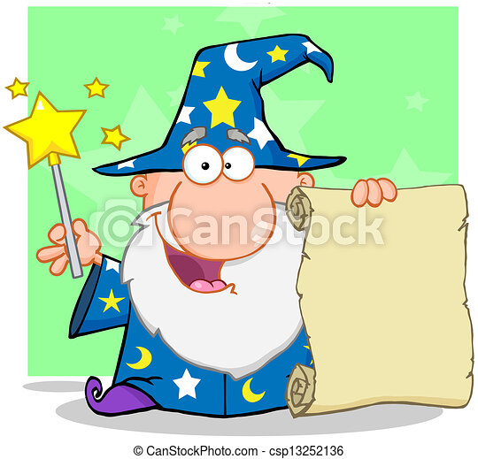Happy Wizard Holding Up A Scroll - csp13252136