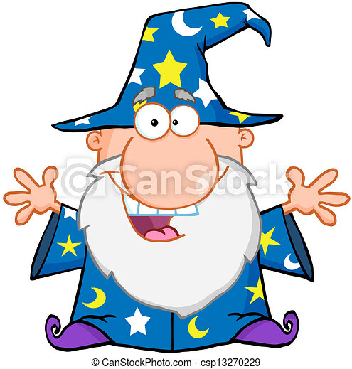 Happy Wizard With Open Arms - csp13270229