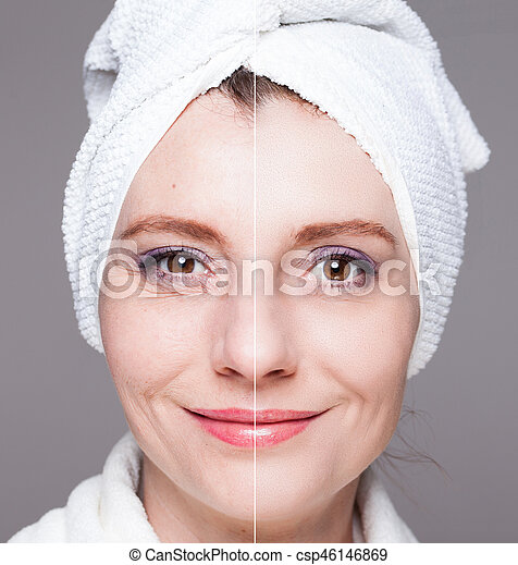 happy woman after beauty treatment - before/after shots - skin care, anti-aging procedures, rejuvenation, lifting, tightening of facial skin - csp46146869