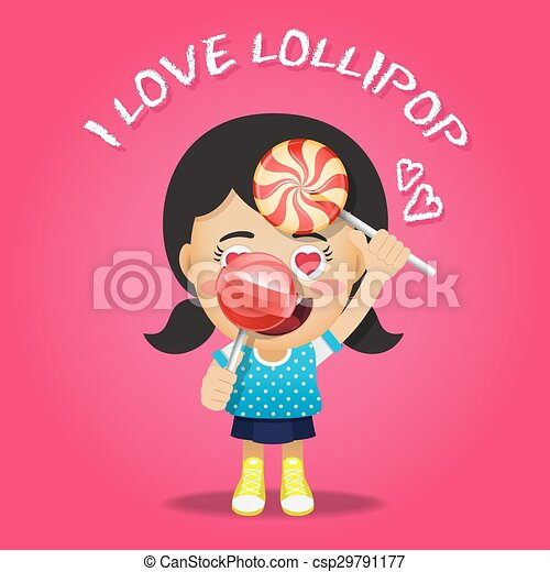 happy woman carrying big lollipops - csp29791177