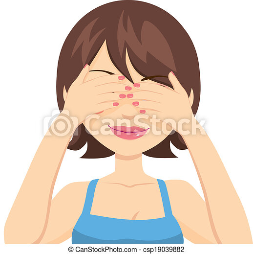 Happy Woman Covering Eyes - csp19039882