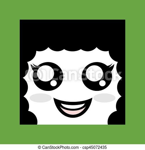 happy woman face icon - csp45072435