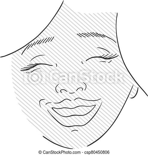 happy woman face - csp80450806