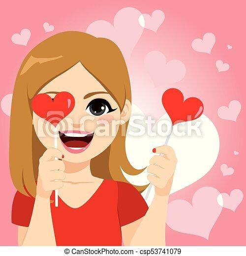 Happy Woman Heart Lollipop - csp53741079