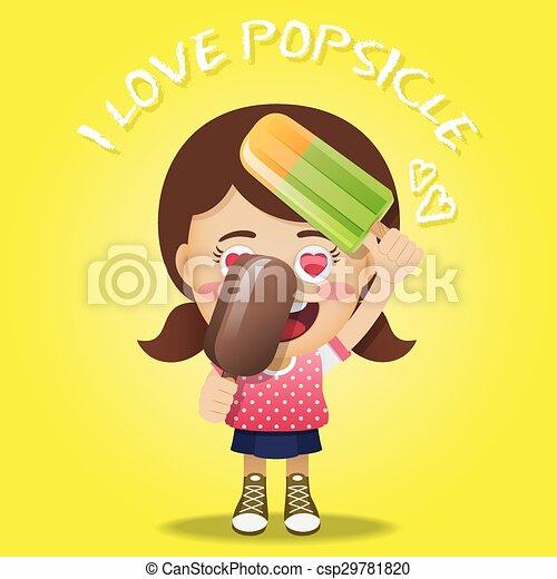 happy woman holding big popsicles - csp29781820