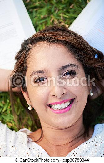 happy woman on grass - csp36783344