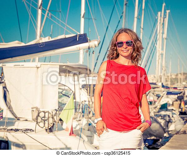 Happy woman on the beach - csp36125415