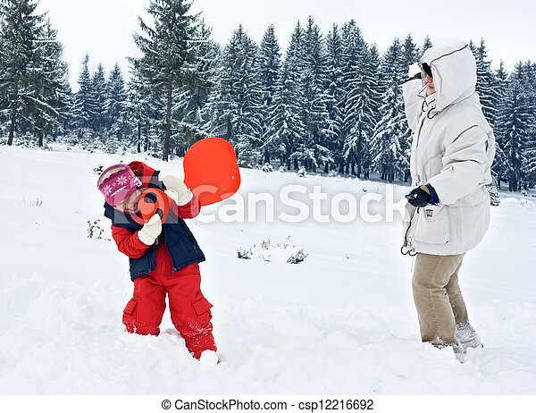 Happy woman playing with her daughter - csp12216692