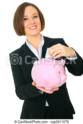 Happy Woman Saving Money - csp3411079