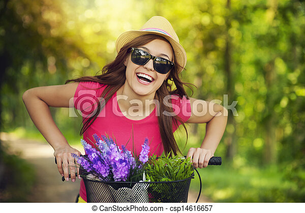 Happy woman spending time in nature - csp14616657