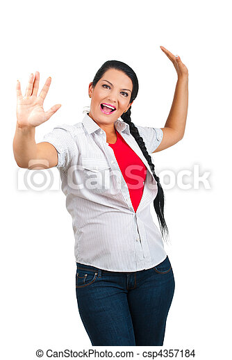 Happy woman with arms up - csp4357184
