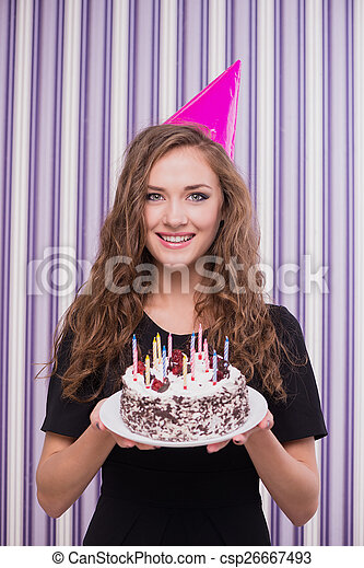 Happy Woman With Birthday Hat And Cake