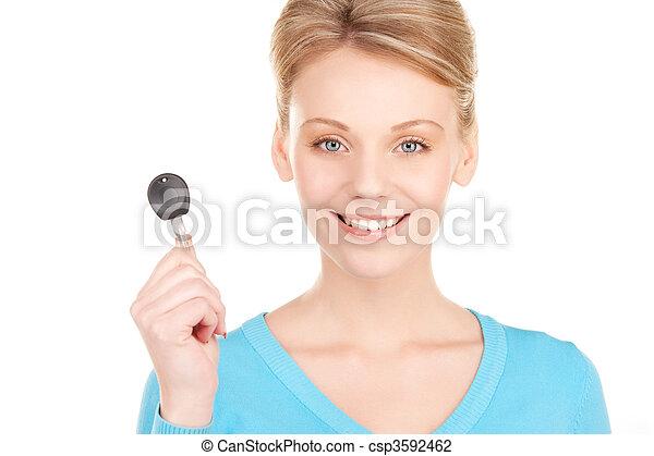 happy woman with car key - csp3592462