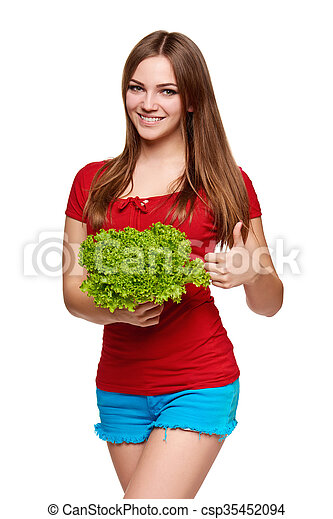 Happy woman with lettuce - csp35452094