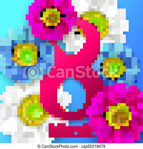 Happy Womans Day 8 March With Flowers Wallpaper Flyers Invit