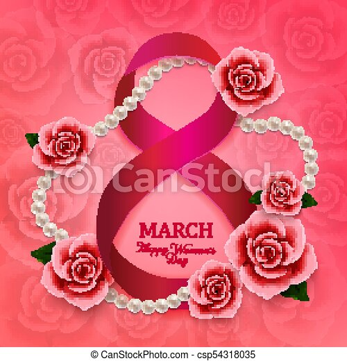 Happy Womans Day 8 March With Roses Hearts And Pearls On Pink