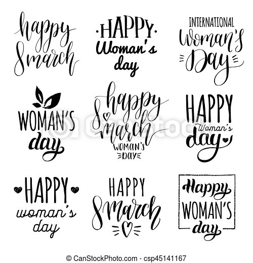 Happy Woman's day handwritten lettering set  8 March calligraphy collection  for greeting or invitation cards, tags etc