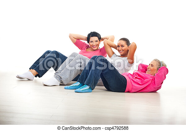 Happy women doing abs - csp4792588