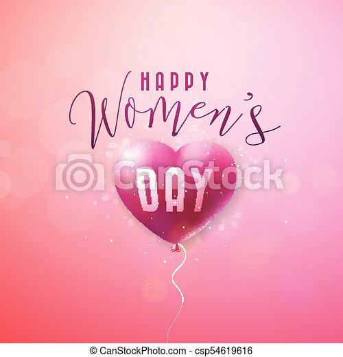 Happy womens day greeting card international holiday illustration happy womens day greeting card international holiday illustration with red balloon heart design on m4hsunfo